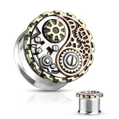 Tunnel med yin og yang i steampunk design